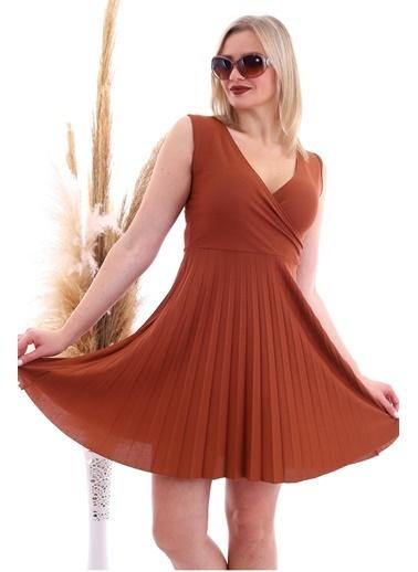 Cottonmood 20070781 Örme Krep Eteği Pliseli Kruvaze Yaka Kolsuz Elbise Vizon Yilan Kahve
